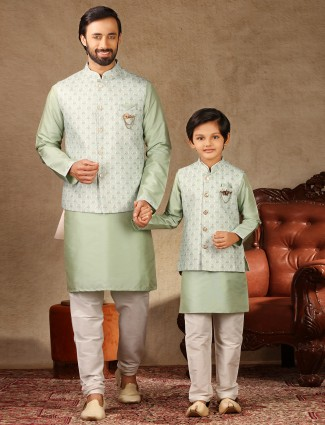 Green raw silk matching waistcoat set for father and son