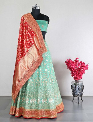 Green raw silk unstitched wedding lehenga choli