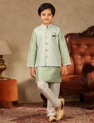 Green raw silk waistcoat set for boys