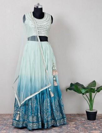 Green raw silk wedding functions lehenga choli