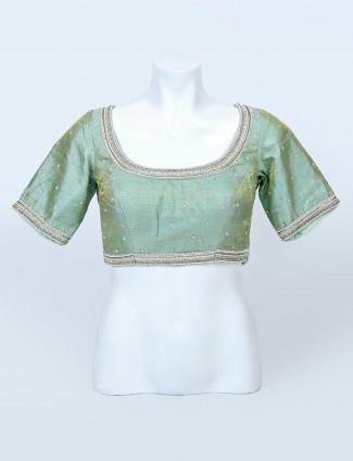 Green raw silk womens blouse