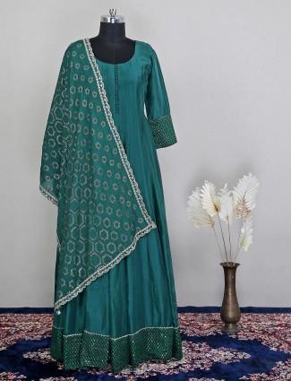 Green silk anarkali suit for women