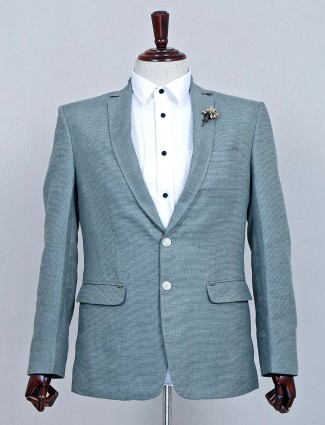 Green solid party wear mens terry rayon blazer