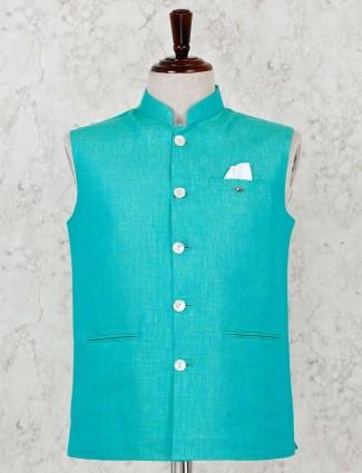 Green solid silk waistcoat for men