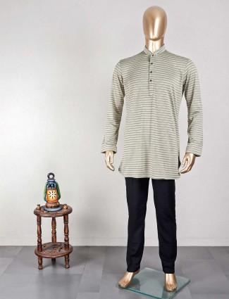 Green stripe kurta suit in cotton for mens