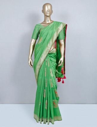 Green wedding session muga silk saree