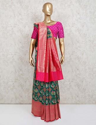 Green wedding wear saree in patola silk