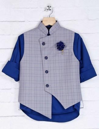 Grey and blue checks cotton silk waistcoat set