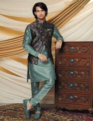 Grey and green color raw silk party waistcoat set