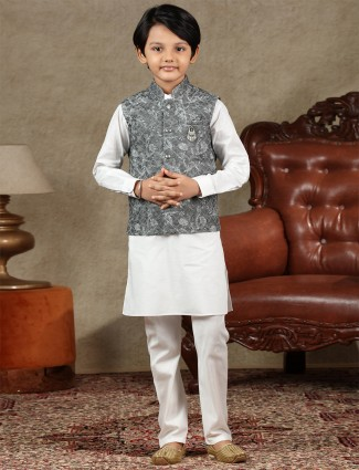 Grey and white cotton waistcoat set for boys