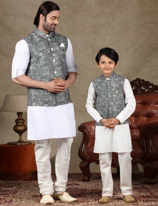 Grey and white cotton waistcoat set for father and son