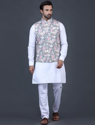 Grey and white waistcoat set in cotton silk