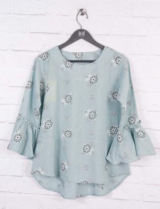Grey color cotton casual top