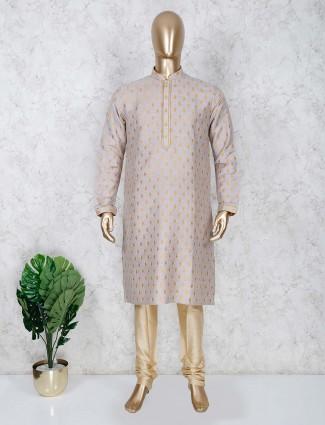 Grey color cotton stand collar kurta suit