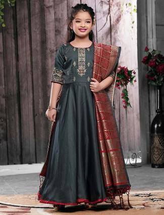 Grey color raw silk floor length anarkali salwar suit