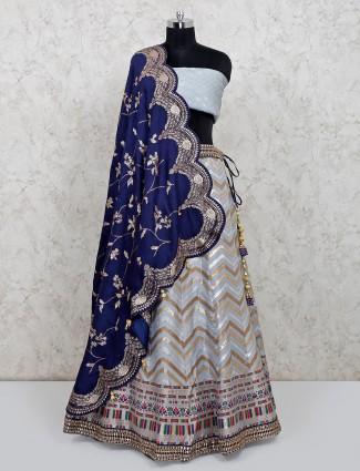 Grey colour cotton silk unstitched wedding lehenga