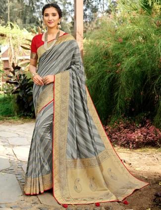 Grey colour wedding session saree