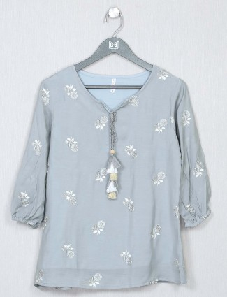 Grey cotton casual top for women