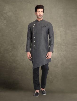 Grey cotton cut style solid kurta suit