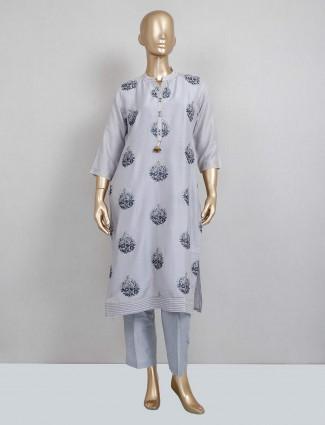 Grey cotton pant style salwar kameez