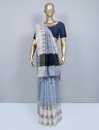 Grey cotton wedding wear saree