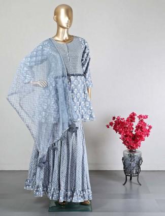 Grey designer cotton sharara salwar kameez for wedding