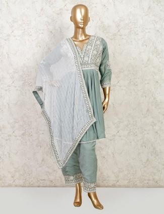 Grey festive wear peplum style salwar suit