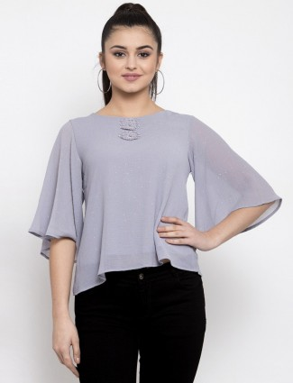 Grey georgette casual top