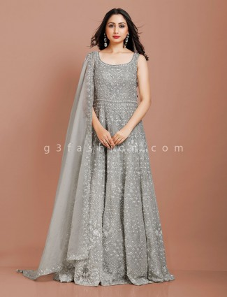 Grey georgette exclusive gown for party wear