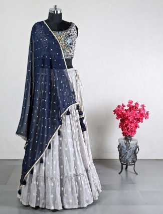Grey georgette wedding wear lehenga choli for women