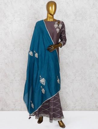 Grey hue cotton festive punjabi sharara suit