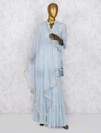 Grey hue punjabi sharara suit in chiffon fabric