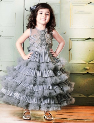 Grey net designer gown for party