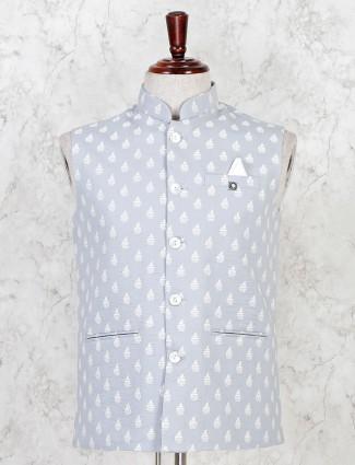 Grey party wear cotton full sleeve waistcoat