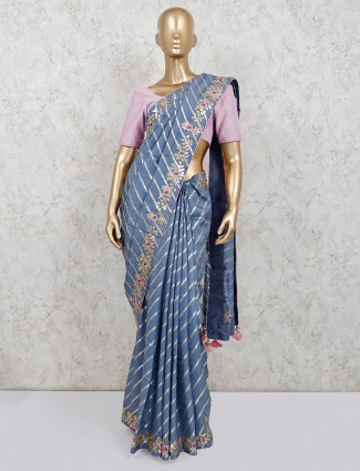 Grey party wear dola silk for women