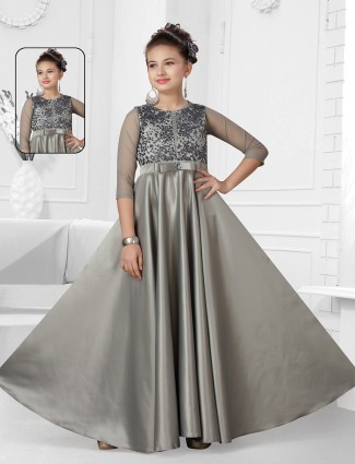 Grey party wear silk gown for girls