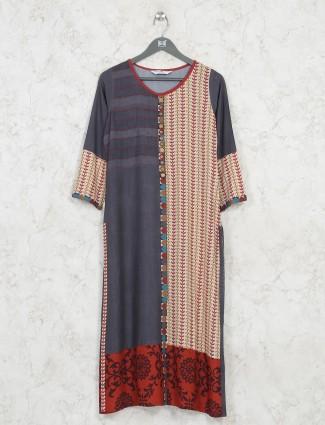 Grey printed casual wear kurti in cotton