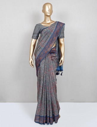 Grey printed cotton festive wear saree