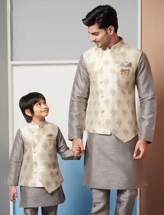 Grey printed father-son waistcoat set in raw silk