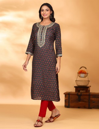 Grey printed kurti for day to day look in cotton