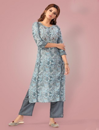 Grey printed palazzo suit for casual in cotton