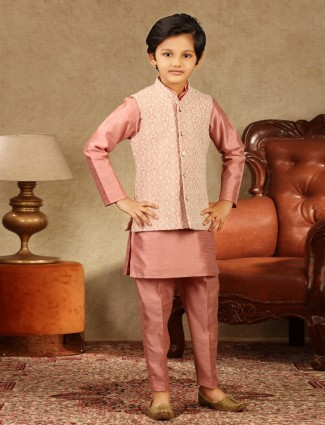 Onion pink raw silk boys waistcoat set for festive occasion