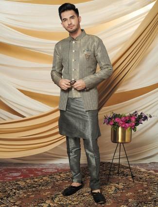 Grey raw silk mens waistcoat set
