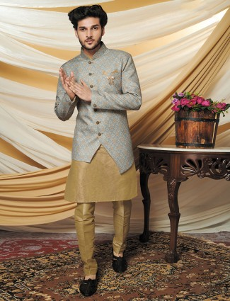 Grey raw silk mens waistcoat set wedding wear
