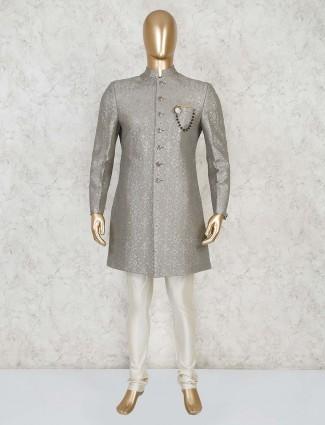Grey silk designer party indo western