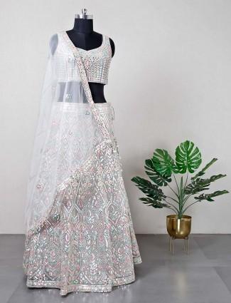 Grey silk lehenga for women