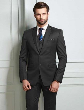 Grey solid terry rayon fabric party mens coat suit