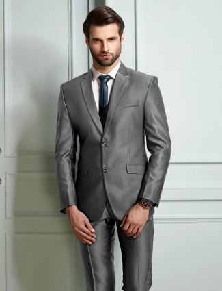 Grey terry rayon fabric two buttoned coat suit