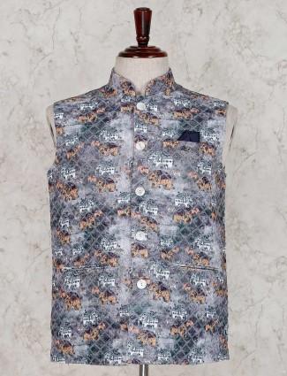 Grey terry rayon party waistcoat