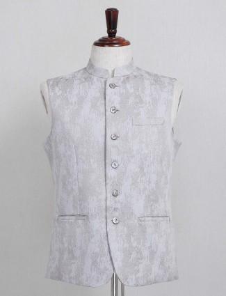 Grey textured cotton silk mens waistcoat